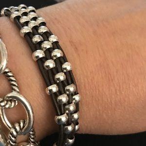 UNO de 50 Silver Beaded Braided Leather  Bracelet